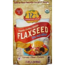 Premiun Gold Organic Golden Omega Flaxseed True Cold Milled 3lb